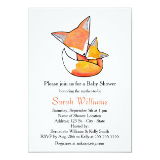 Fox Baby Shower Invitation Fox Mom Baby Woodland