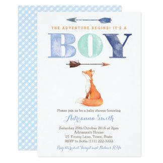 fox baby shower invites, boy fall baby sprinkle card