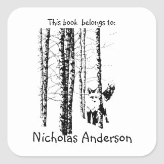 Fox Birch Tree Forest Animal Silhouette Nature Art Square Sticker
