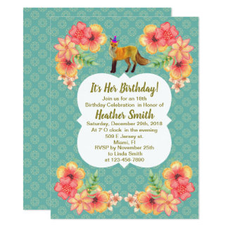 Fox Birthday Invitation Floral Blue Pattern