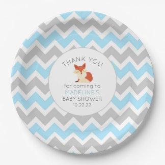 Fox Boy baby shower decor, blue gray chevron Paper Plate