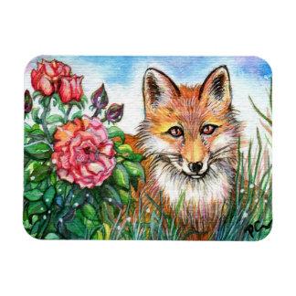Fox By The Rose Bush Magnet