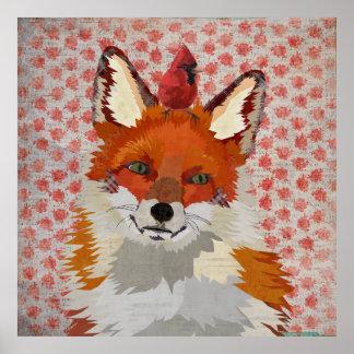 FOX & CARDINAL ROSES Poster