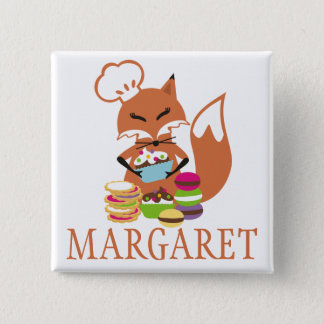 Fox chef baker cookies cupcakes name tag 2 inch square button