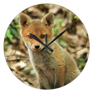 fox clock, fox wall clock, fox gift home decor large clock