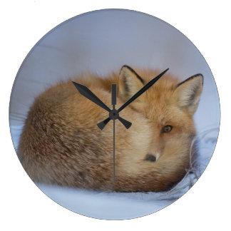 fox clock, foxy, wildlife, nature, foxes wall clocks