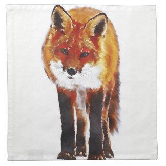 fox cloth napkins, woodland dining linen printed napkins