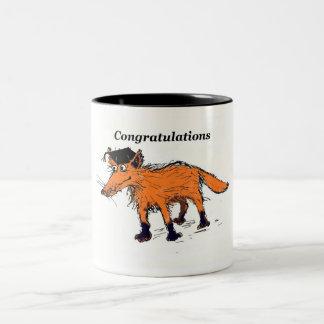 fox congratulations Two-Tone coffee mug