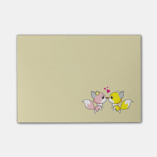 Fox Couple Kissing with Little Hearts Overhead Post-it® Notes