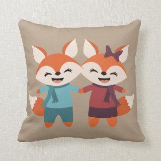 Fox Couple Throw Pillow