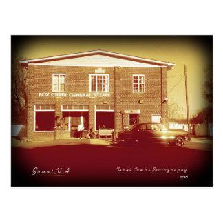 Fox Creek General Store with Classic car -Sepia Postcard