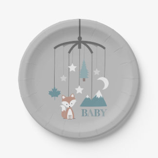Fox Crib Mobile Modern Blue Baby Shower Paper Plate