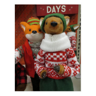 Fox & Deer Decoration Postcard