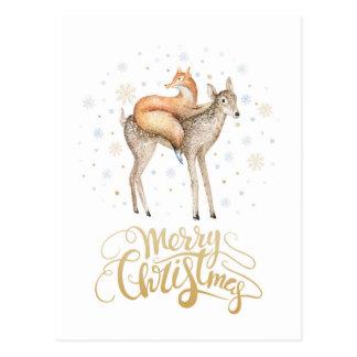 Fox Deer Winter Snow Merry Christmas Postcard