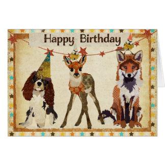 Fox Dog Fawn Little Birds Birthday Card