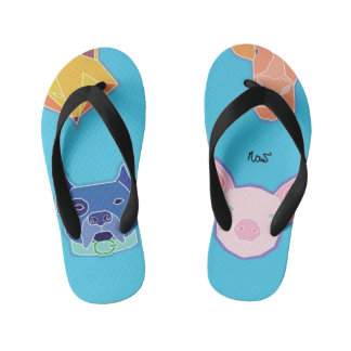 ...fox dog pig and cow kid's flip flops