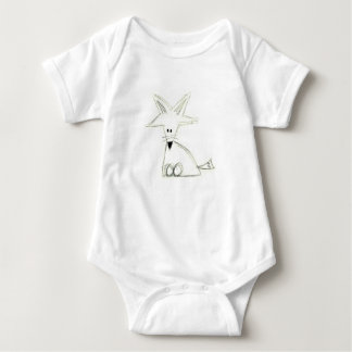 fox doodle black white gray simple kids drawing baby bodysuit