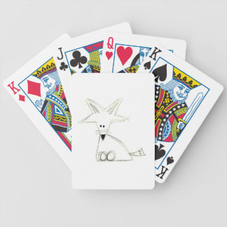 fox doodle black white gray simple kids drawing bicycle playing cards