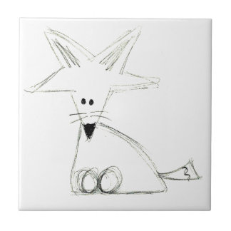 fox doodle black white gray simple kids drawing ceramic tile