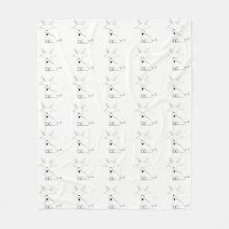 fox doodle black white gray simple kids drawing fleece blanket