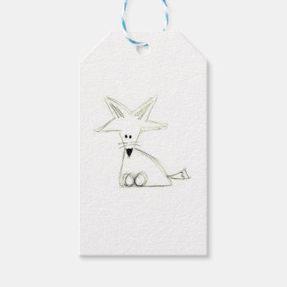 fox doodle black white gray simple kids drawing gift tags