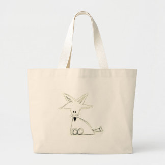 fox doodle black white gray simple kids drawing large tote bag