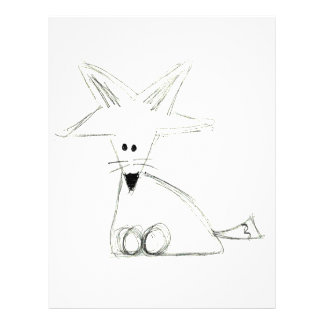 fox doodle black white gray simple kids drawing letterhead