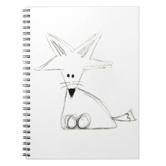 fox doodle black white gray simple kids drawing notebook