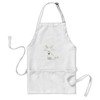 fox doodle black white gray simple kids drawing standard apron