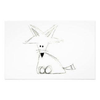fox doodle black white gray simple kids drawing stationery paper