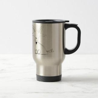 fox doodle black white gray simple kids drawing travel mug