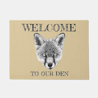 Fox Doormat 'Welcome To Our Den' Custom Doormat