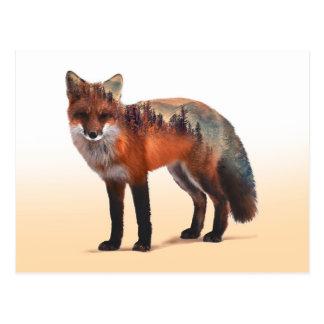 Fox double exposure - fox art - red fox - wildfox postcard