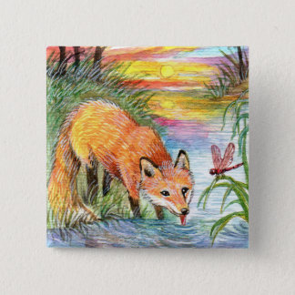 Fox Drinking by Riverside 2 Inch Square Button