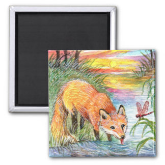 Fox Drinking by Riverside Magnet