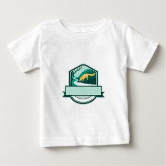 Fox Drinking River Creek Woods Crest Woodcut Baby T-Shirt