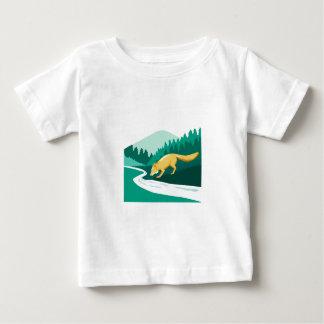 Fox Drinking River Creek Woods Square Retro Baby T-Shirt