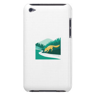 Fox Drinking River Creek Woods Square Retro Barely There iPod Cases