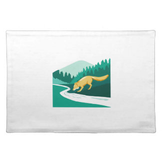 Fox Drinking River Creek Woods Square Retro Place Mat