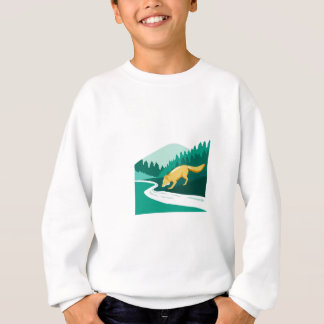Fox Drinking River Creek Woods Square Retro Sweatshirt