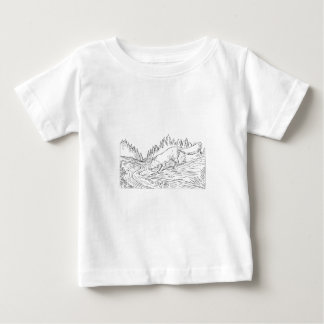 Fox Drinking River Woods Black and White Drawing Baby T-Shirt