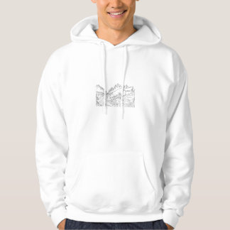 Fox Drinking River Woods Black and White Drawing Hoodie