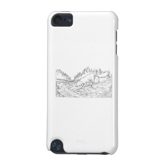 Fox Drinking River Woods Black and White Drawing iPod Touch (5th Generation) Covers