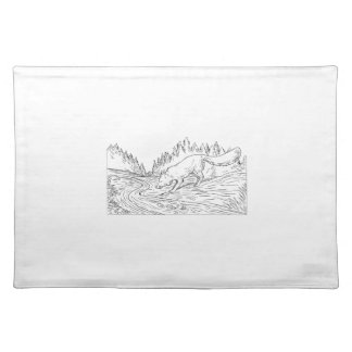 Fox Drinking River Woods Black and White Drawing Placemat