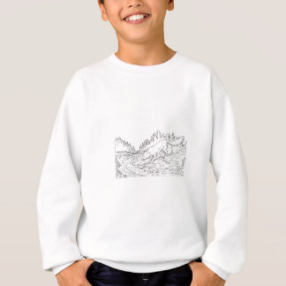 Fox Drinking River Woods Black and White Drawing Sweatshirt