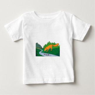 Fox Drinking River Woods Creek Drawing Baby T-Shirt