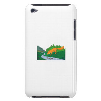 Fox Drinking River Woods Creek Drawing iPod Touch Cover