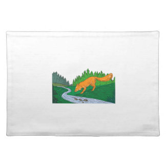 Fox Drinking River Woods Creek Drawing Placemat