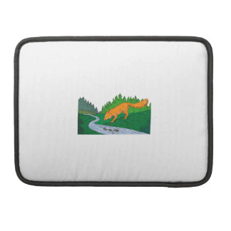 Fox Drinking River Woods Creek Drawing Sleeve For MacBooks