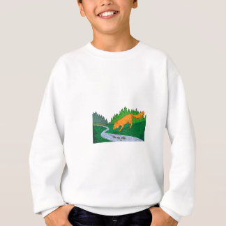 Fox Drinking River Woods Creek Drawing Sweatshirt